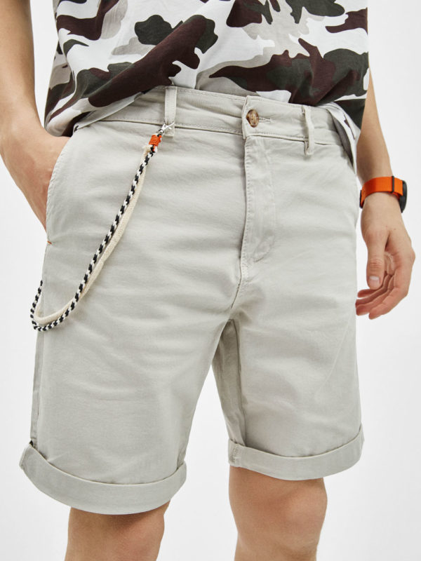 Pale Blue Drawstring Waist Jersey Shorts